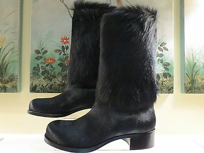 RARE!! NWB AUTHENTIC CHANEL 11A BLACK REAL FUR PONY HAIR BOOTS 41/40 $1850.00