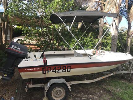 4m fibreglass fish ski runabout boat