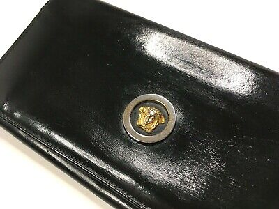 GIANNI VERSACE VINTAGE '90s METAL MEDUSA RELIEF LEATHER LONG WALLET BIFOLD ITALY