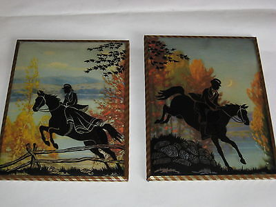 Vintage Reverse Painted Horse Jumping Convex Glass Silhouette Pictures