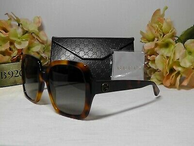 GUCCI GG0096S Tortoise Brown Oversized Square w/Bee Frame Sunglasses 54 19 140