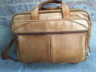 SOLO Premium Brown Leather Rolling Briefcase Attaché Laptop Case BAG WHEELED Leather Rolling Briefcase