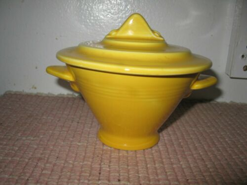 Homer Laughlin Harlequin Fiesta Yellow Sugar Bowl & Lid Restyled Closed Handles