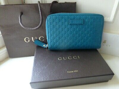 Genuine Gucci Micro GG Guccissima Blue Leather Womens Purse Wallet Box RRP £510