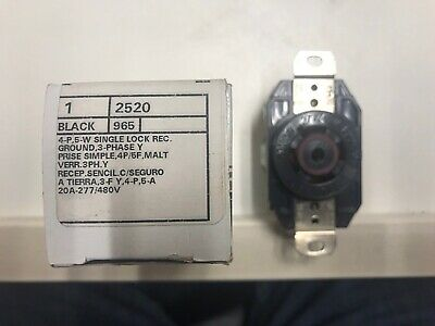 Leviton 2520 Twist Lock Receptacle 20 Amp 277480 Volt 3 Phase Y L22-20r