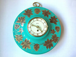 Art Deco Mid Century Modern German HECO 8 Day Metal Wall Clock Turquoise WORKS