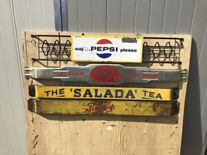Vintage door push bars Pepsi double cola coke signs salada tea