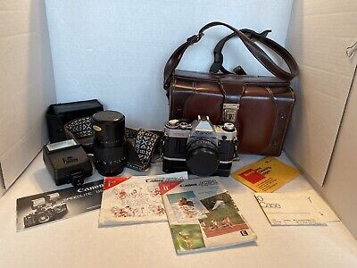 Canon AE-1 35mm Film Camera Bundle- Case, Flash Rewinder, Extras All Included
