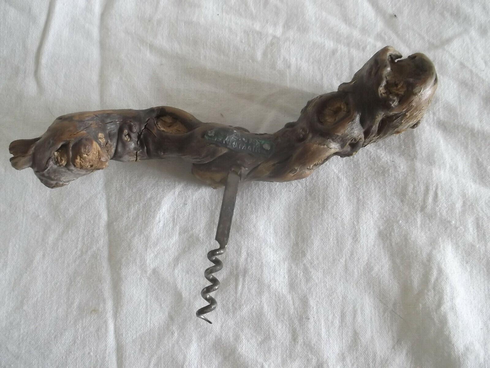 Ancien - tire bouchon henri maire en cep de vigne - 20 cm