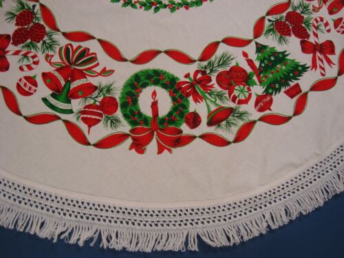 """One CHRISTMAS Fabric TABLECLOTH Bells Ornaments White 65"""" round Macrame fringe"""