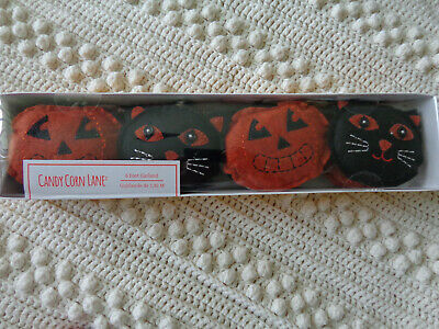 HALLOWEEN CANDY CORN LANE 6 foot Felt JACK O-LANTERN PUMPKIN & CAT Garland NIB