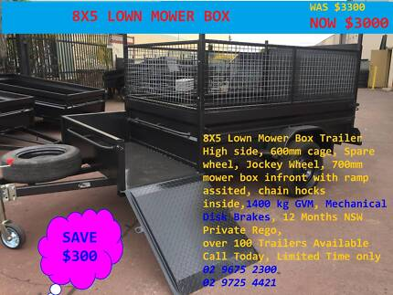 LAWN MOVER 8X5 WITH RAMP 600MM CAGE 12 MONTHS PRIV REGO $3000