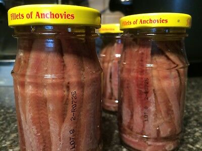 ANCHOVIES FILLETS IN OLIVE OIL BY ROLAND 4.2 Oz (4 JARS)