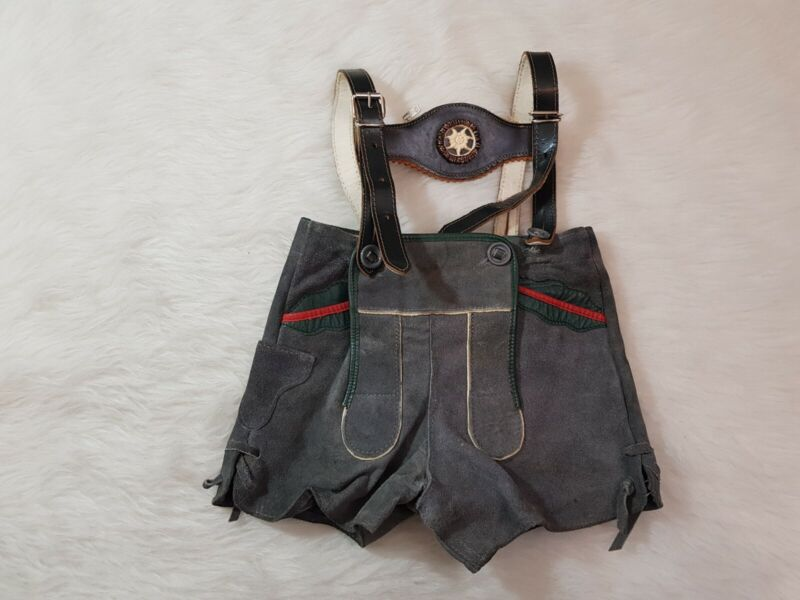 Vintage Lederhosen Boys Kids German Suede Shorts suspenders