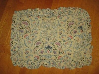 Ralph Lauren Provence Depressed Floral Ruffle Cotton Linen Pillow Sham Standard Size
