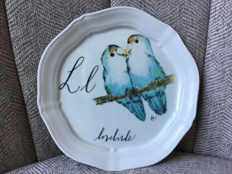 "Anthropologie Plate Linea Carta by Diva Pyari L ""Lovebirds"" Alphabet 6 3/8"
