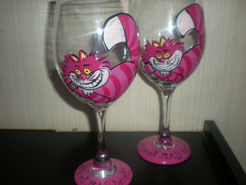 HAND PAINTED CHESHIRE CAT WE'RE ALL MAD HERE  s/4 goblet black hot pink original