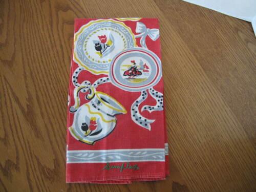 Vintage Mid-Century Linen Tea Towel Signed Simplex Flowers Pitcher Plates NOS