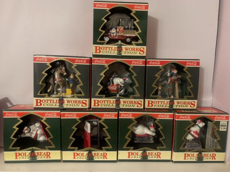 8 Coca Cola Christmas Ornaments 4 Polar Bear Collection & 4 Bottling Collection