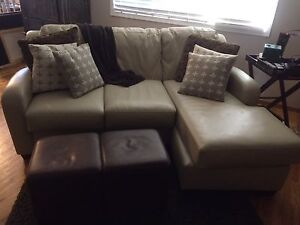 Leather couch and foot stools