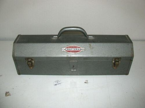 Vintage Grey W/ Red Tray Craftsmans Toolbox Solid Metal Steel Handle - Nice