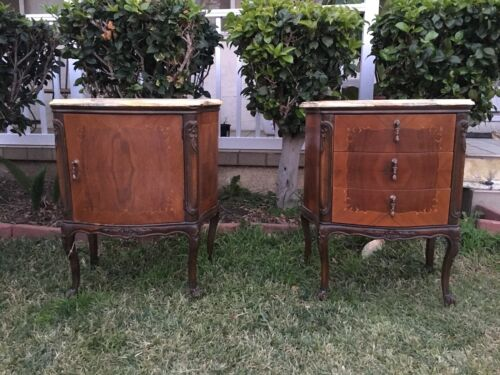 Pair of Vintage French Nightstand Table With Marble Top