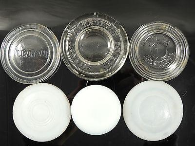 ANTIQUE VINTAGE MILK BOTTLE GLASS LIDS COVERS CAPS-ATLAS HANDY CLEARVU BOYD