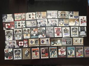 lot of 42 hockey jersey, signature, rookie cards