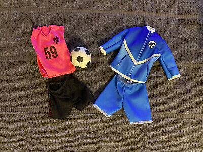 Barbie Doll Soccer Player And Coach Clothing & Accessories Lot With Soccer Ball