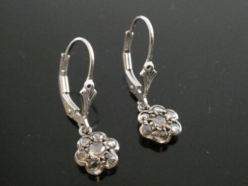 Victorian Edwardian Rose Cut Diamond Sterling 925 Flower Drop Dangle Earrings