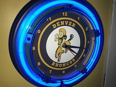 Denver Broncos Neon Clock (Denver Broncos Throwback Football Bar Man Cave Blue Neon Wall Clock Sign #2 )