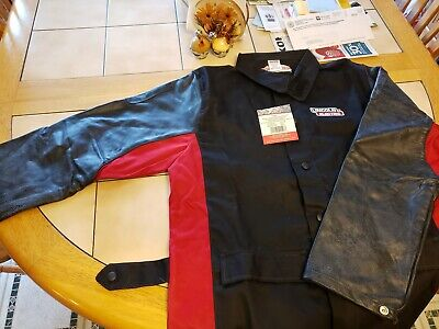XX-Large Black//Red Lincoln Electric K2987-XXL Shadow Grain Leather Sleeve Welding Jacket