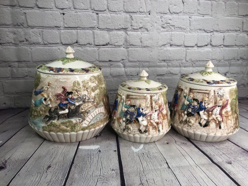 Vintage Ceramic 3 Piece Canister Set Colonial Bar Witch  Design