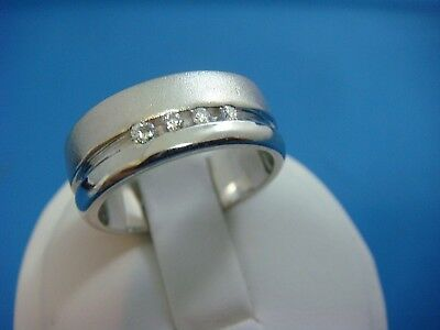 - 14K WHITE GOLD 4 DIAMONDS BAND-RING, SANDBLAST AND HIGH POLISH FINISH, SIZE 8