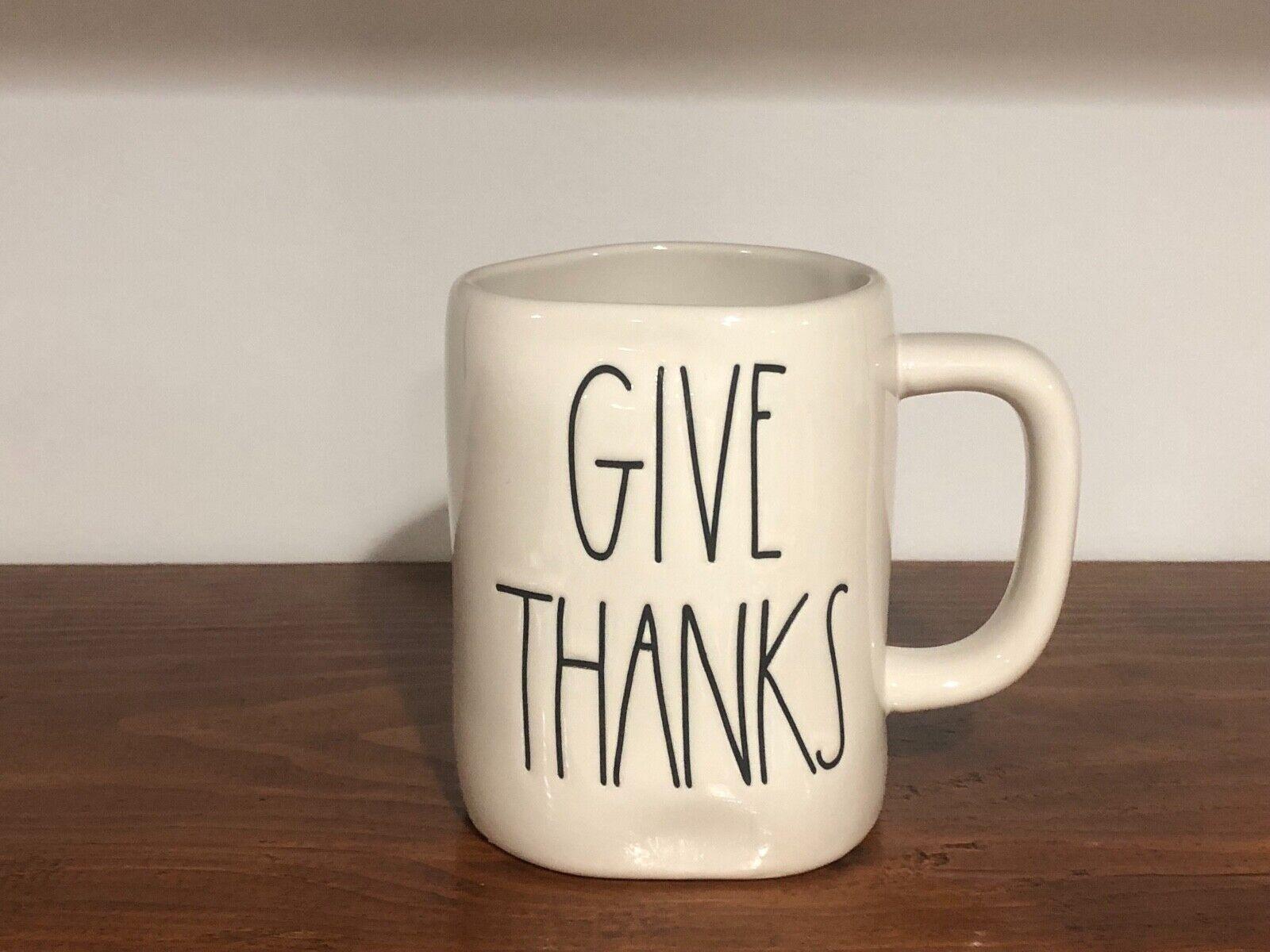Rae Dunn Artisan Collection By Magenta Farmhouse LL Large Letter Coffee Tea Mug GIVE THANKS