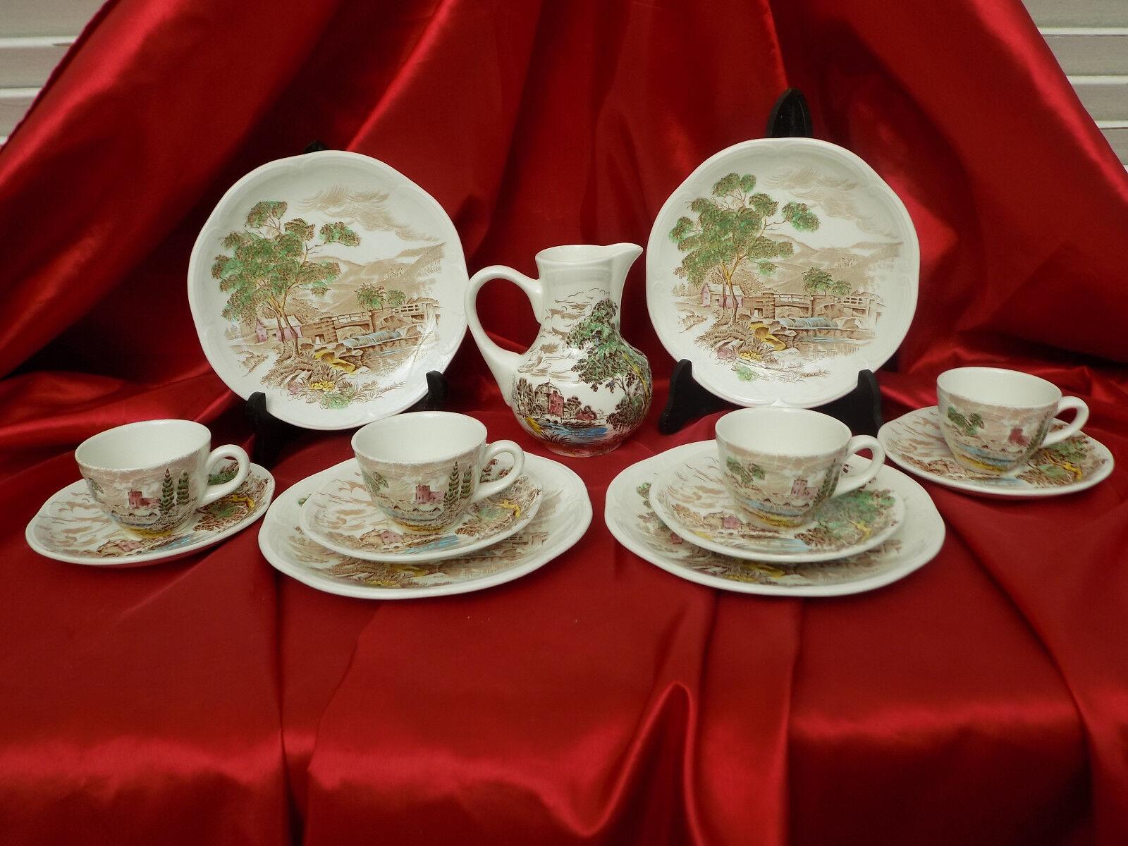 SERVICE A CAFE ET DESSERT POUR 4 CONVIVES ... ALLIANCE GIEN ENOCH WEDGWOOD
