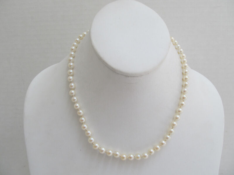 "Vintage 14K White Gold Clasp Culture Pearl 17"" Necklace, 5.8 mm"