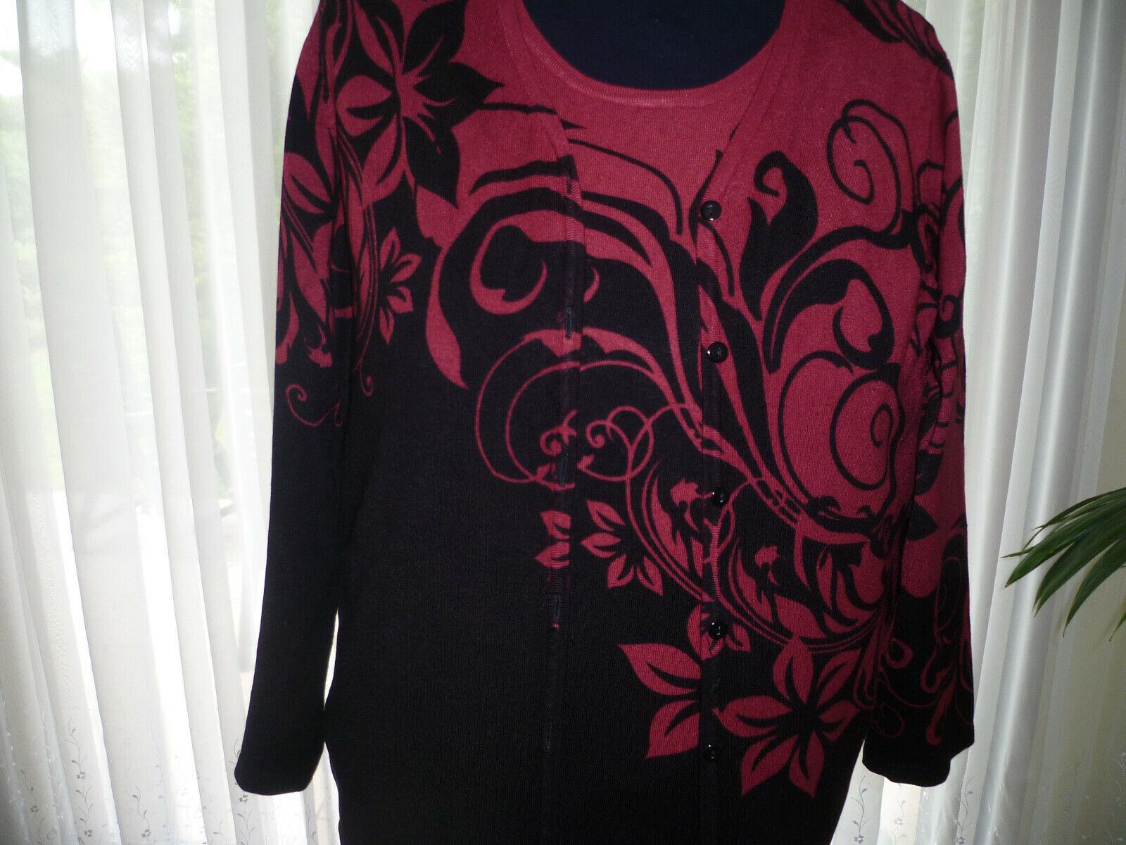 OVANTI   Twin-Set - Pullover und Jacke - schwarz-burgunder  - Größe 44 - neuw.