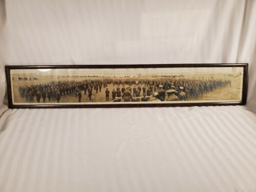 Antique WW1 1916 Duke of Cannaught Camp Borden Officer Review Panoramic Photo