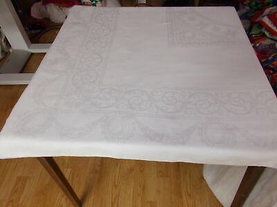 102x69 Vtg Antique ELEGANT White IRISH LINEN Double DAMASK Tablecloth