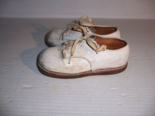 Vintage Edwards Sincet White Leather Baby Toddler Infant Shoes Size 6E