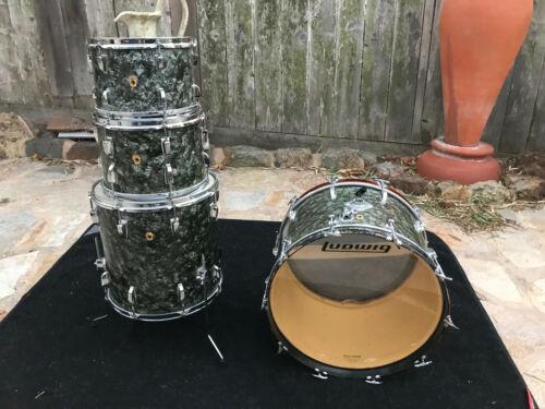 Vintage Ludwig Black Diamond Pearl 4pc Drum Set kit 1966