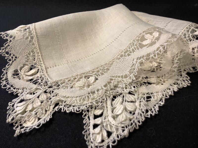 #6889🌟Antique 1800s Fine Batiste & Silk Bobbin Lace Wedding Handkerchief AS-IS
