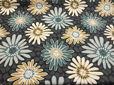 Robert Allen Yellow Teal Flower Pond Drapery Upholstery Fabric By the yard -