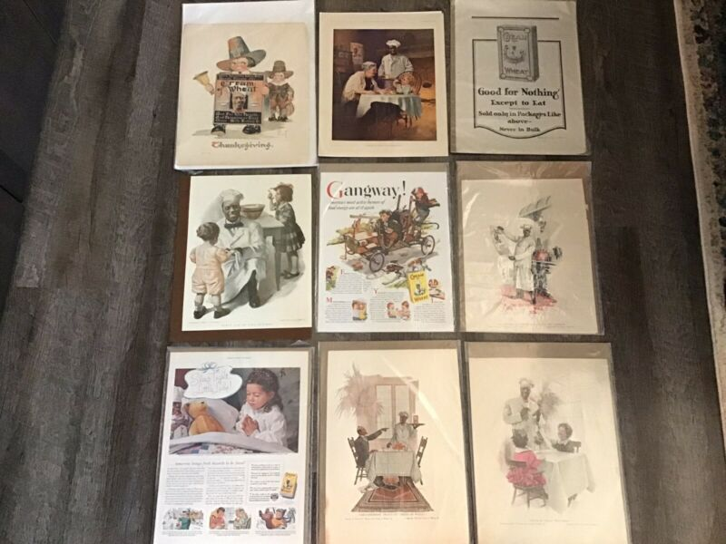 9 Pc. LOT Original Early 1900s Cream of Wheat Print Ads Advertisements