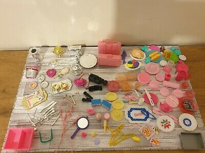 Vintage Barbie Accessories Bundle - Silver, Food, Crockery, Cutlery, Toaster Etc