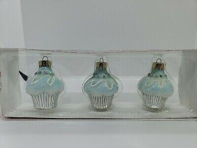 Martha Stewart Mini Three Piece Christmas Ornaments-Blue Cupcakes
