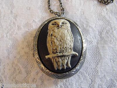 #JRK917E Owl Locket cameo Box Pill Necklace Photo Memory Keepsake Antique Silver - Owl Photo