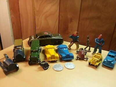 Vintage Metal Toy Lot Tootsie Toy Cars Lead Figures Sunoco Coins