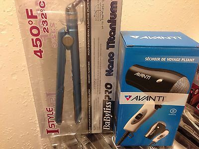 Babyliss Nano Titanium Ceramic Digital I-Style Flat Iron + BONUS HAIR DRYER